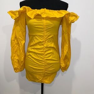Tularosa Mustard Yellow Zuri Ruffle Sleeve Dress